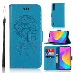 Intricate Embossing Owl Campanula Leather Wallet Case for Xiaomi Mi CC9 (Mi CC9mt Meitu Edition) - Blue