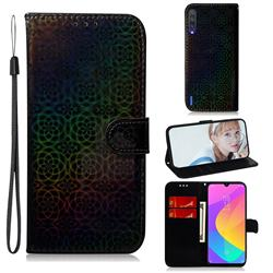 Laser Circle Shining Leather Wallet Phone Case for Xiaomi Mi CC9 (Mi CC9mt Meitu Edition) - Black
