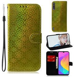 Laser Circle Shining Leather Wallet Phone Case for Xiaomi Mi CC9 (Mi CC9mt Meitu Edition) - Golden