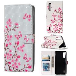 Butterfly Sakura Flower 3D Painted Leather Phone Wallet Case for Xiaomi Mi CC9 (Mi CC9mt Meitu Edition)