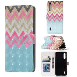 Color Wave 3D Painted Leather Phone Wallet Case for Xiaomi Mi CC9 (Mi CC9mt Meitu Edition)