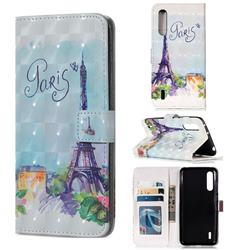 Paris Tower 3D Painted Leather Phone Wallet Case for Xiaomi Mi CC9 (Mi CC9mt Meitu Edition)