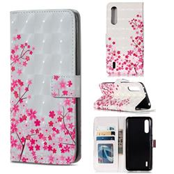 Cherry Blossom 3D Painted Leather Phone Wallet Case for Xiaomi Mi CC9 (Mi CC9mt Meitu Edition)