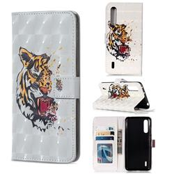 Toothed Tiger 3D Painted Leather Phone Wallet Case for Xiaomi Mi CC9 (Mi CC9mt Meitu Edition)