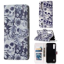 Skull Flower 3D Painted Leather Phone Wallet Case for Xiaomi Mi CC9 (Mi CC9mt Meitu Edition)