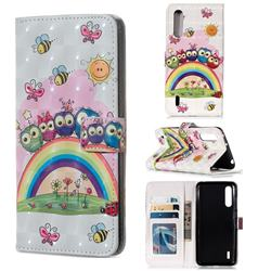 Rainbow Owl Family 3D Painted Leather Phone Wallet Case for Xiaomi Mi CC9 (Mi CC9mt Meitu Edition)