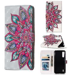 Mandara Flower 3D Painted Leather Phone Wallet Case for Xiaomi Mi CC9 (Mi CC9mt Meitu Edition)