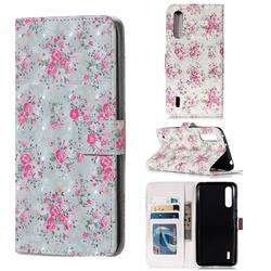 Roses Flower 3D Painted Leather Phone Wallet Case for Xiaomi Mi CC9 (Mi CC9mt Meitu Edition)