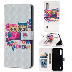Couple Owl 3D Painted Leather Phone Wallet Case for Xiaomi Mi CC9 (Mi CC9mt Meitu Edition)