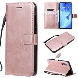 Retro Greek Classic Smooth PU Leather Wallet Phone Case for Xiaomi Mi CC9 (Mi CC9mt Meitu Edition) - Rose Gold