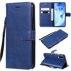 Retro Greek Classic Smooth PU Leather Wallet Phone Case for Xiaomi Mi CC9 (Mi CC9mt Meitu Edition) - Blue