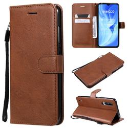 Retro Greek Classic Smooth PU Leather Wallet Phone Case for Xiaomi Mi CC9 (Mi CC9mt Meitu Edition) - Brown
