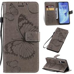 Embossing 3D Butterfly Leather Wallet Case for Xiaomi Mi CC9 (Mi CC9mt Meitu Edition) - Gray