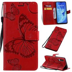 Embossing 3D Butterfly Leather Wallet Case for Xiaomi Mi CC9 (Mi CC9mt Meitu Edition) - Red