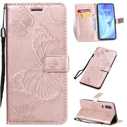Embossing 3D Butterfly Leather Wallet Case for Xiaomi Mi CC9 (Mi CC9mt Meitu Edition) - Rose Gold