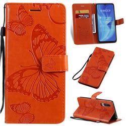 Embossing 3D Butterfly Leather Wallet Case for Xiaomi Mi CC9 (Mi CC9mt Meitu Edition) - Orange