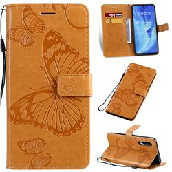 Embossing 3D Butterfly Leather Wallet Case for Xiaomi Mi CC9 (Mi CC9mt Meitu Edition) - Yellow