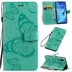 Embossing 3D Butterfly Leather Wallet Case for Xiaomi Mi CC9 (Mi CC9mt Meitu Edition) - Green