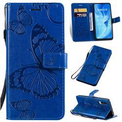 Embossing 3D Butterfly Leather Wallet Case for Xiaomi Mi CC9 (Mi CC9mt Meitu Edition) - Blue