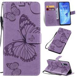 Embossing 3D Butterfly Leather Wallet Case for Xiaomi Mi CC9 (Mi CC9mt Meitu Edition) - Purple