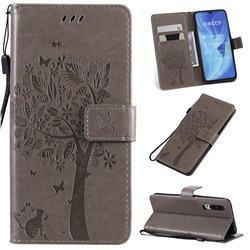 Embossing Butterfly Tree Leather Wallet Case for Xiaomi Mi CC9 (Mi CC9mt Meitu Edition) - Grey