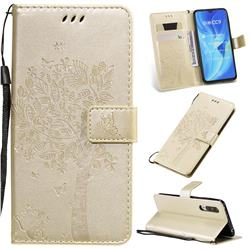 Embossing Butterfly Tree Leather Wallet Case for Xiaomi Mi CC9 (Mi CC9mt Meitu Edition) - Champagne