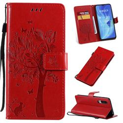 Embossing Butterfly Tree Leather Wallet Case for Xiaomi Mi CC9 (Mi CC9mt Meitu Edition) - Red