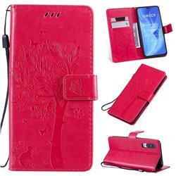 Embossing Butterfly Tree Leather Wallet Case for Xiaomi Mi CC9 (Mi CC9mt Meitu Edition) - Rose