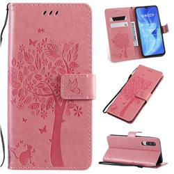 Embossing Butterfly Tree Leather Wallet Case for Xiaomi Mi CC9 (Mi CC9mt Meitu Edition) - Pink