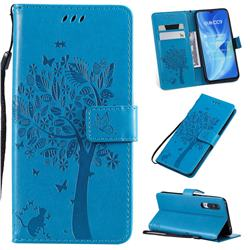 Embossing Butterfly Tree Leather Wallet Case for Xiaomi Mi CC9 (Mi CC9mt Meitu Edition) - Blue