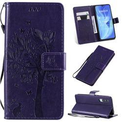 Embossing Butterfly Tree Leather Wallet Case for Xiaomi Mi CC9 (Mi CC9mt Meitu Edition) - Purple
