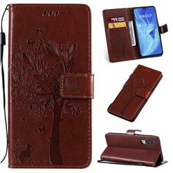Embossing Butterfly Tree Leather Wallet Case for Xiaomi Mi CC9 (Mi CC9mt Meitu Edition) - Coffee