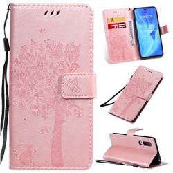 Embossing Butterfly Tree Leather Wallet Case for Xiaomi Mi CC9 (Mi CC9mt Meitu Edition) - Rose Pink