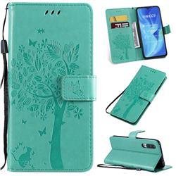 Embossing Butterfly Tree Leather Wallet Case for Xiaomi Mi CC9 (Mi CC9mt Meitu Edition) - Cyan