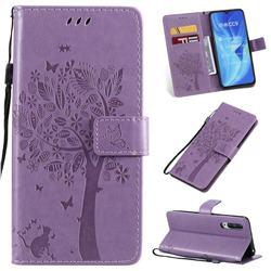 Embossing Butterfly Tree Leather Wallet Case for Xiaomi Mi CC9 (Mi CC9mt Meitu Edition) - Violet