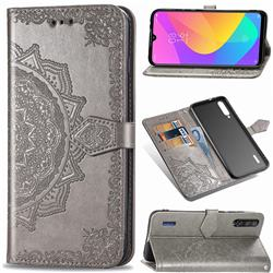 Embossing Imprint Mandala Flower Leather Wallet Case for Xiaomi Mi CC9 (Mi CC9mt Meitu Edition) - Gray