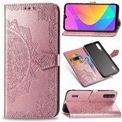 Embossing Imprint Mandala Flower Leather Wallet Case for Xiaomi Mi CC9 (Mi CC9mt Meitu Edition) - Rose Gold