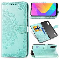 Embossing Imprint Mandala Flower Leather Wallet Case for Xiaomi Mi CC9 (Mi CC9mt Meitu Edition) - Green