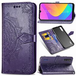 Embossing Imprint Mandala Flower Leather Wallet Case for Xiaomi Mi CC9 (Mi CC9mt Meitu Edition) - Purple
