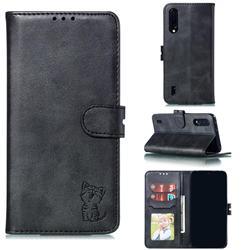 Embossing Happy Cat Leather Wallet Case for Xiaomi Mi CC9 (Mi CC9mt Meitu Edition) - Black