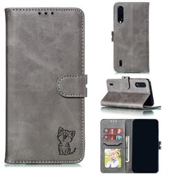 Embossing Happy Cat Leather Wallet Case for Xiaomi Mi CC9 (Mi CC9mt Meitu Edition) - Gray