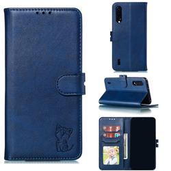 Embossing Happy Cat Leather Wallet Case for Xiaomi Mi CC9 (Mi CC9mt Meitu Edition) - Blue