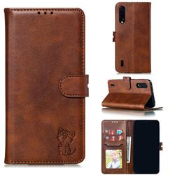 Embossing Happy Cat Leather Wallet Case for Xiaomi Mi CC9 (Mi CC9mt Meitu Edition) - Brown