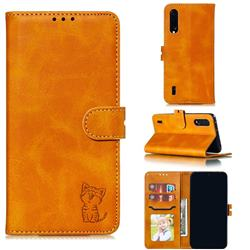 Embossing Happy Cat Leather Wallet Case for Xiaomi Mi CC9 (Mi CC9mt Meitu Edition) - Yellow