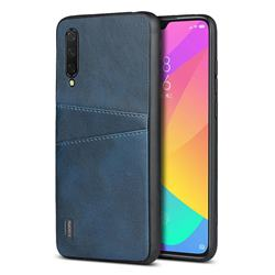 Simple Calf Card Slots Mobile Phone Back Cover for Xiaomi Mi CC9 (Mi CC9mt Meitu Edition) - Blue
