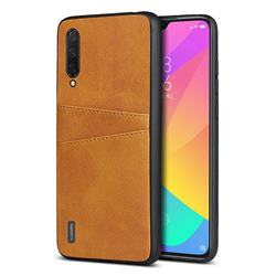 Simple Calf Card Slots Mobile Phone Back Cover for Xiaomi Mi CC9 (Mi CC9mt Meitu Edition) - Yellow