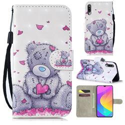 Love Panda 3D Painted Leather Wallet Phone Case for Xiaomi Mi CC9 (Mi CC9mt Meitu Edition)
