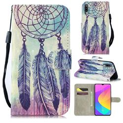 Feather Wind Chimes 3D Painted Leather Wallet Phone Case for Xiaomi Mi CC9 (Mi CC9mt Meitu Edition)