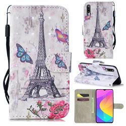 Paris Tower 3D Painted Leather Wallet Phone Case for Xiaomi Mi CC9 (Mi CC9mt Meitu Edition)