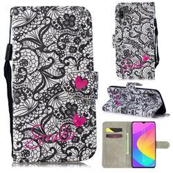 Lace Flower 3D Painted Leather Wallet Phone Case for Xiaomi Mi CC9 (Mi CC9mt Meitu Edition)